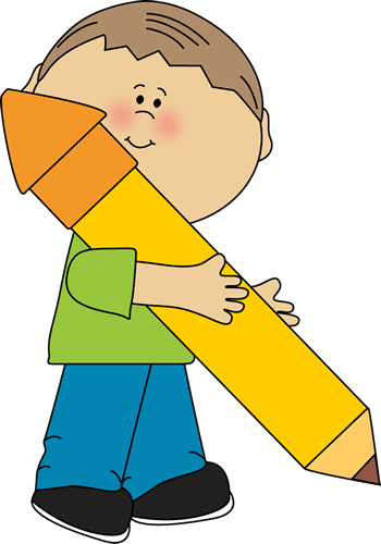 banner stock Boy holding a big. Writer clipart pencil.
