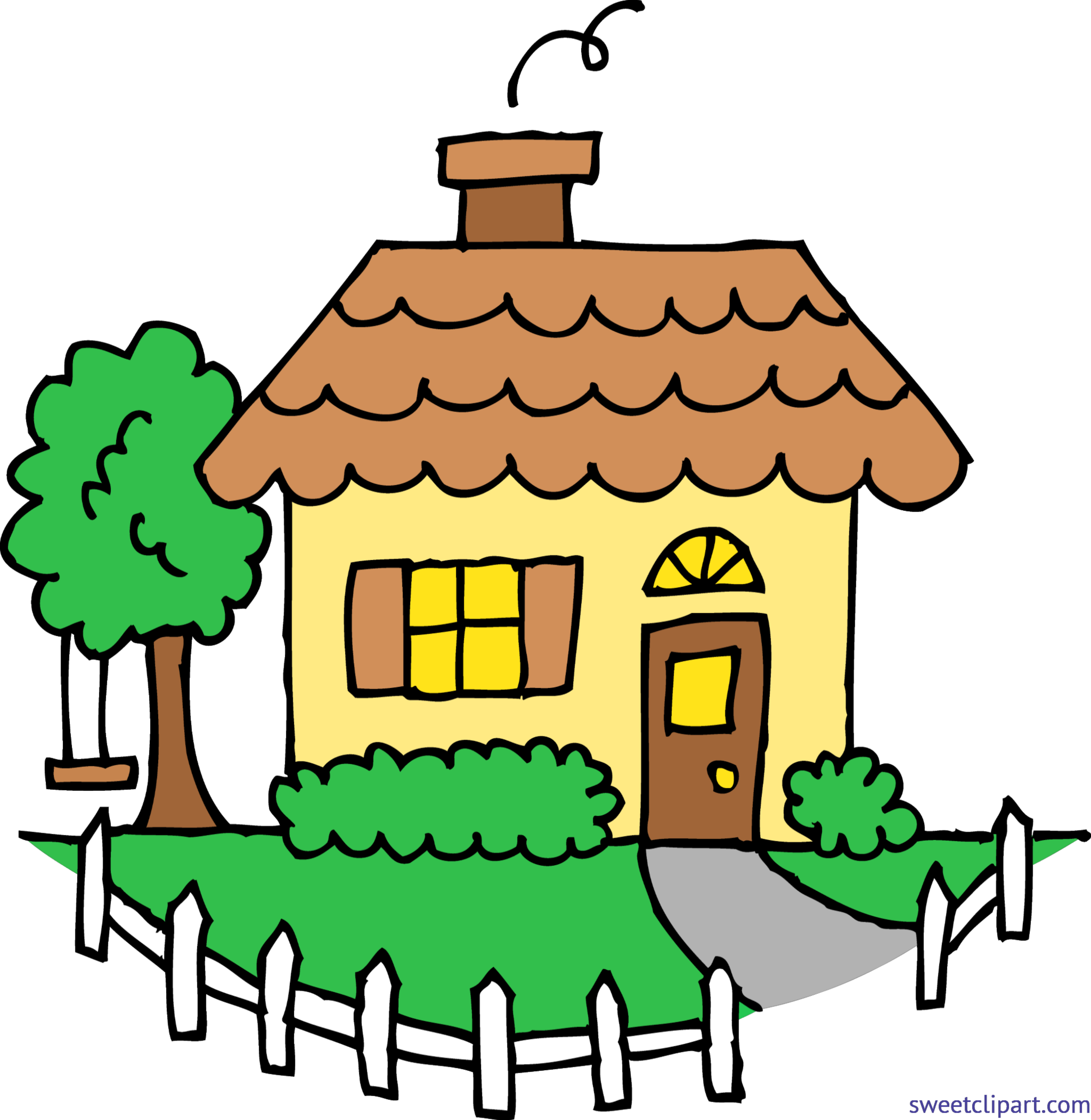 banner free stock Yellow house clip art. Yard clipart cute cottage.
