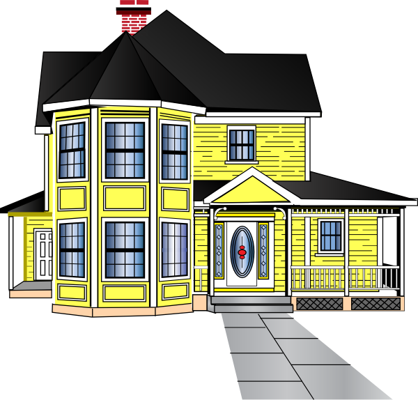 svg free stock Little yellow clip art. Farmhouse clipart bungalow house