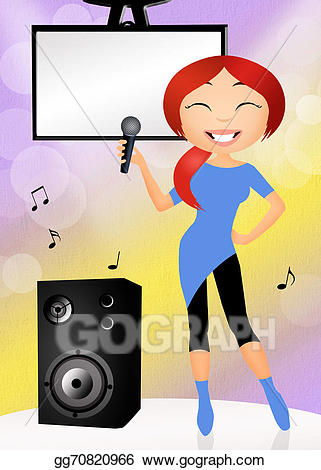 clip art black and white Stock illustration drawing gg. Clipart karaoke.