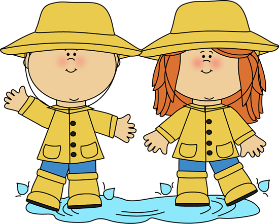 clip library stock Playing in a rain. Clipart kids