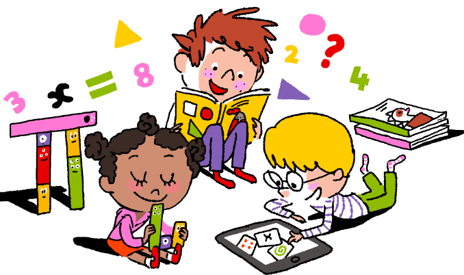 vector freeuse stock Children learning kids vector. Coloring clipart