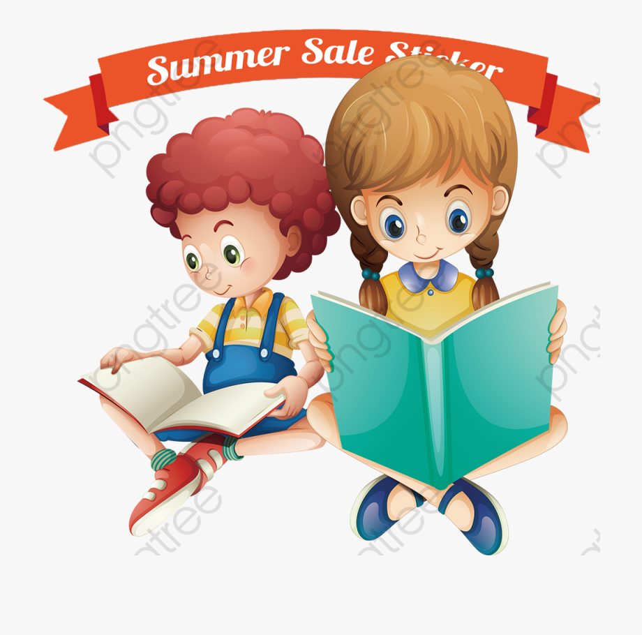 png download Clipart kids reading. Girl books cartoon