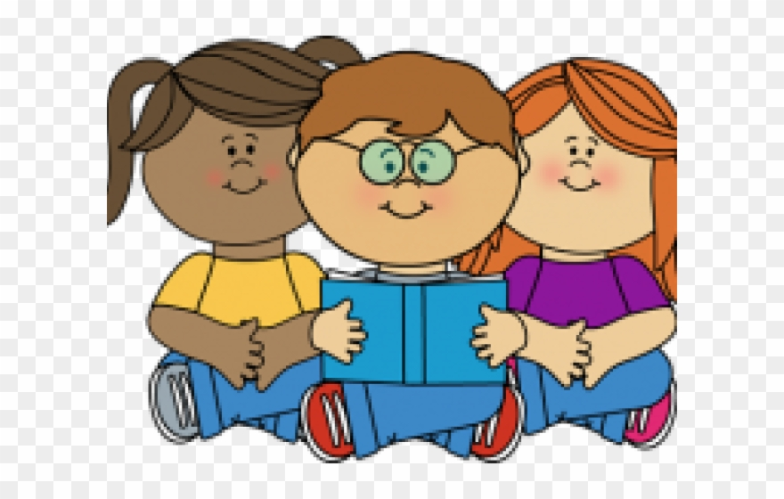 vector Clipart kids reading. Corner clip art png
