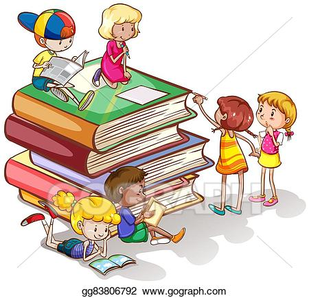clipart library library Vector books together . Clipart kids reading