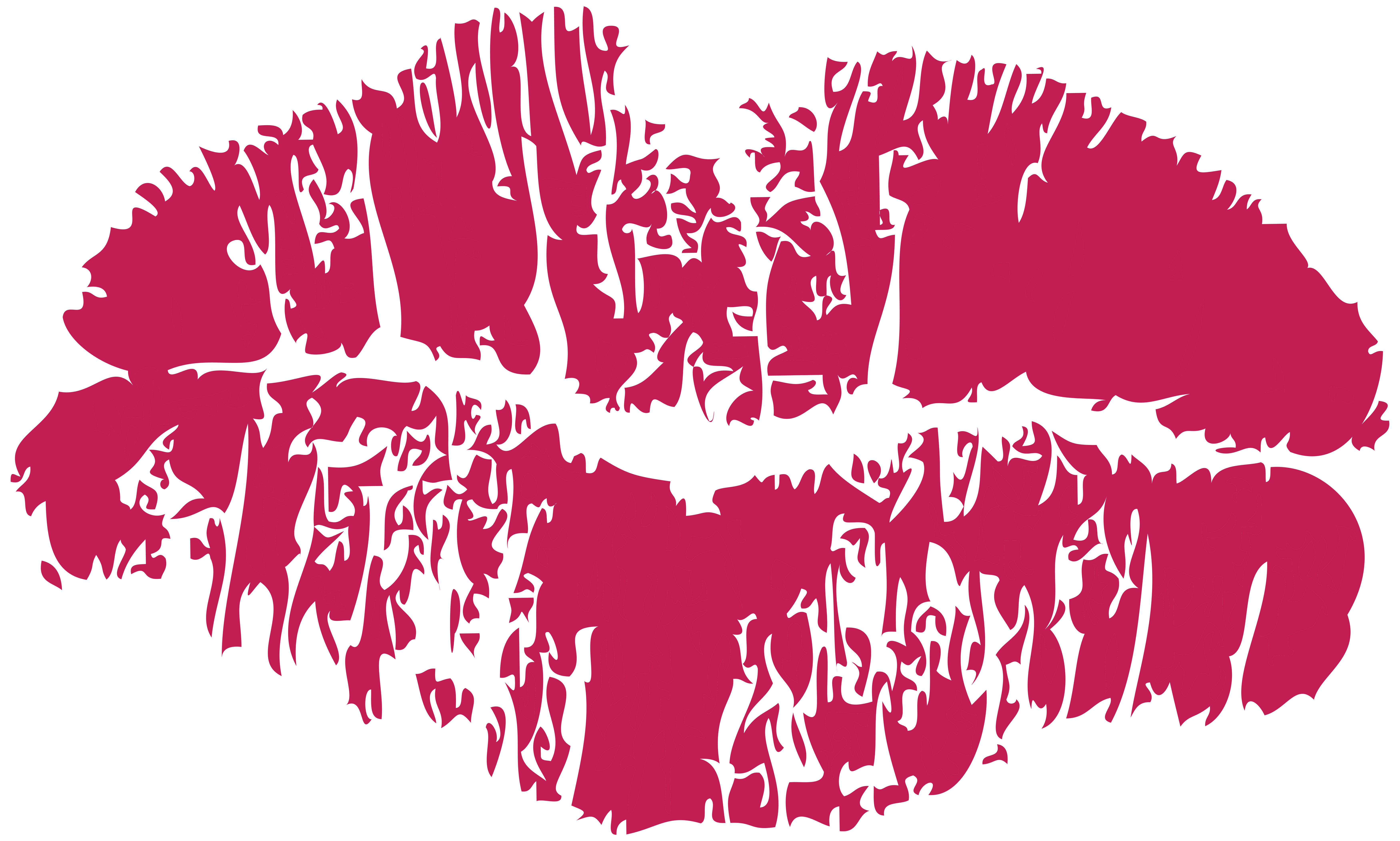 picture black and white Pink print png clip. Clipart kiss