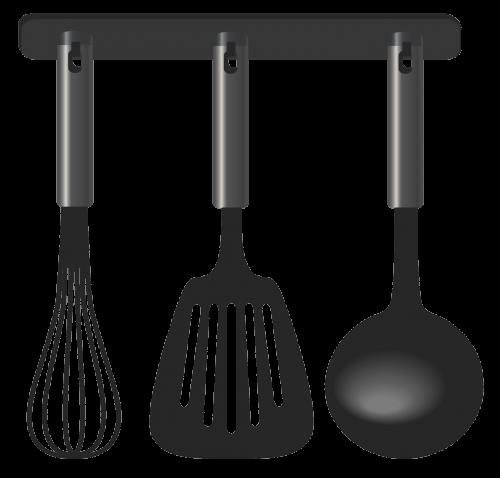 svg transparent library Utensils clipart vintage. Black kitchen tool set