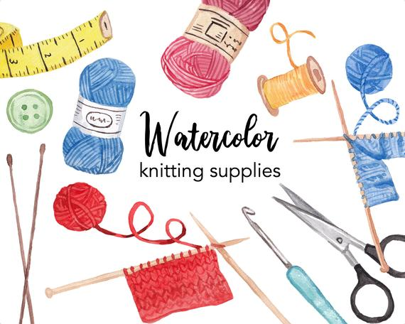 clip art freeuse library Watercolor supplies set commercial. Clipart knitting