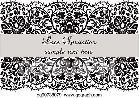 jpg royalty free stock Vector invitation card with. Clipart lace