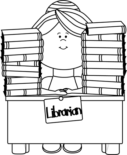 png free librarian clipart black and white #58497521