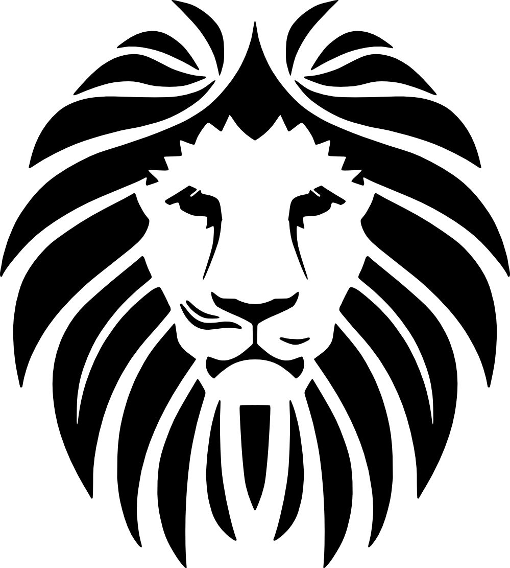 banner transparent library Frontline security front lion. Vector emblem animal