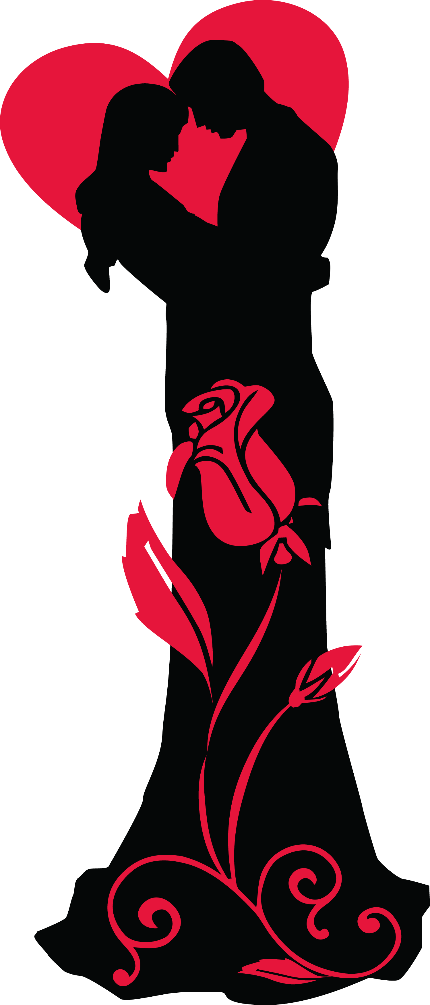 graphic library library Transparent Loving Couple Silhouettes with Red Heart and Rose PNG