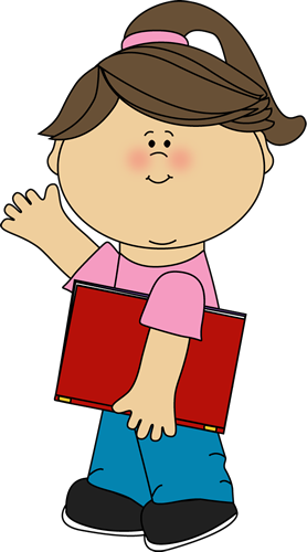 clip art black and white library Girl Carrying Book and Waving Clip Art