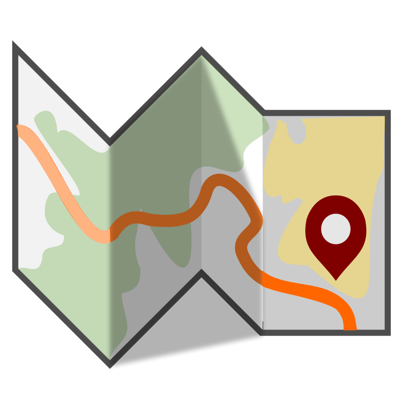svg library Maps clipart. Free folded travel map.