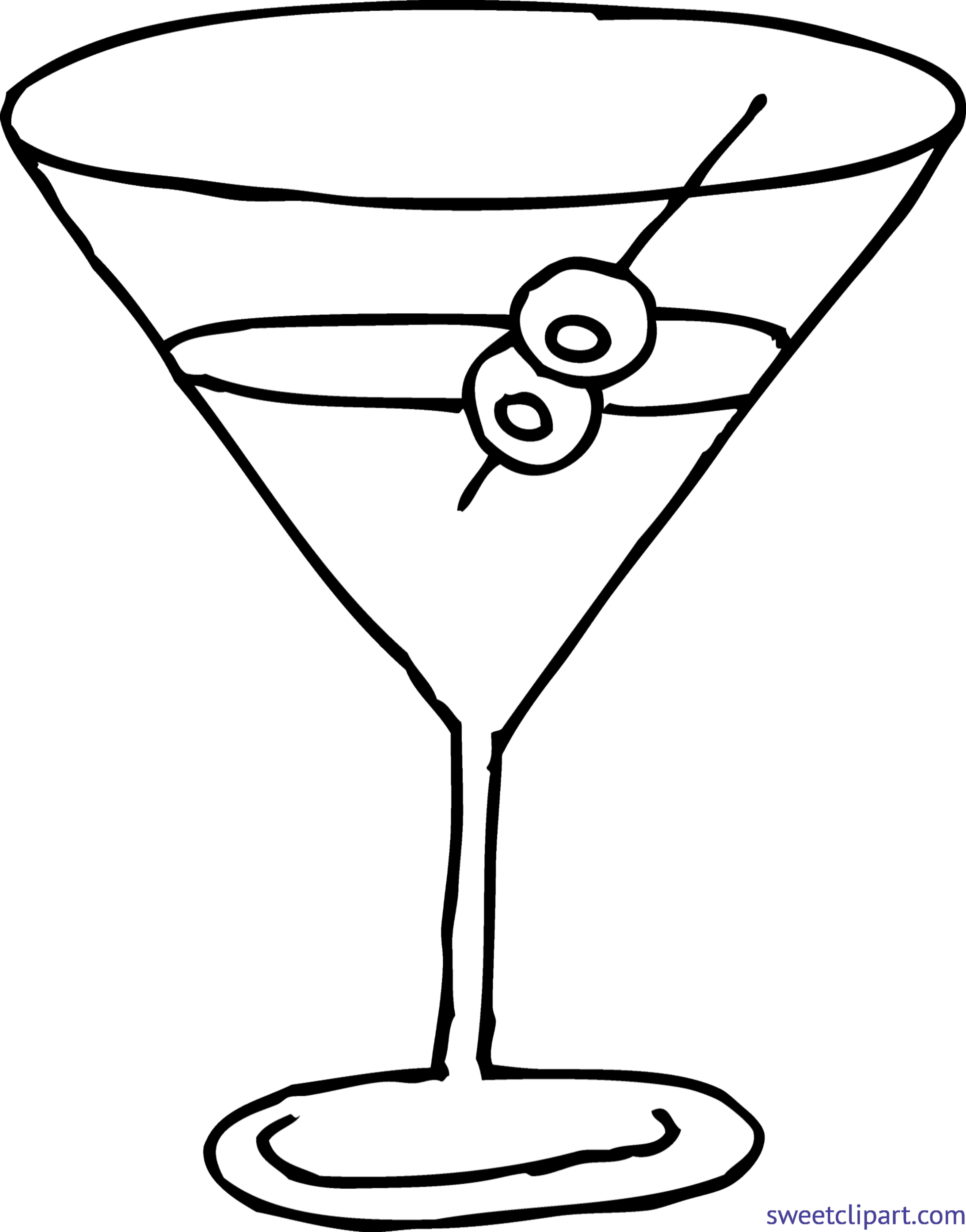 png royalty free Martini Glass Coloring Page Clip Art
