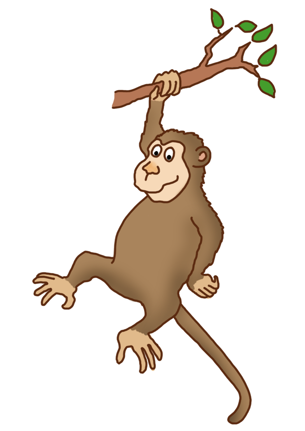 graphic library Ape clipart monkey tail. Funny drawings clip art