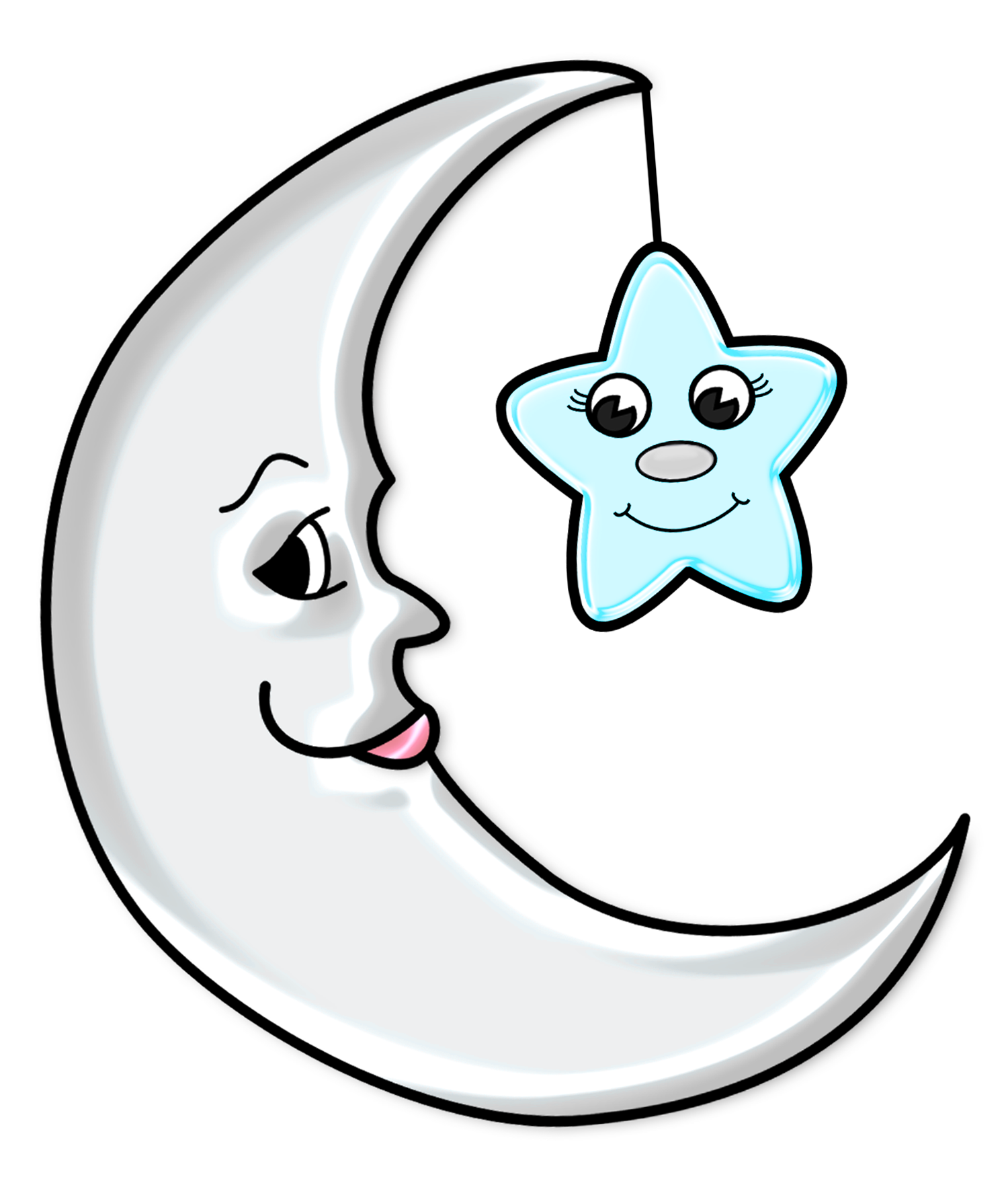 clip download Cute Moon with Star Transparent PNG Picture