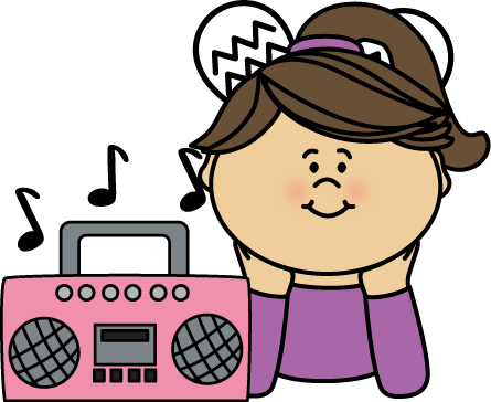 picture free library Listening to music clip. Hear clipart girl