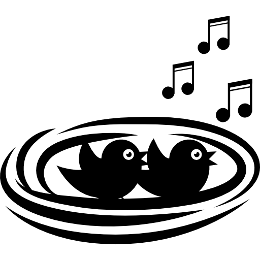 vector library stock Music bird singing babies. Clipart nest black and white