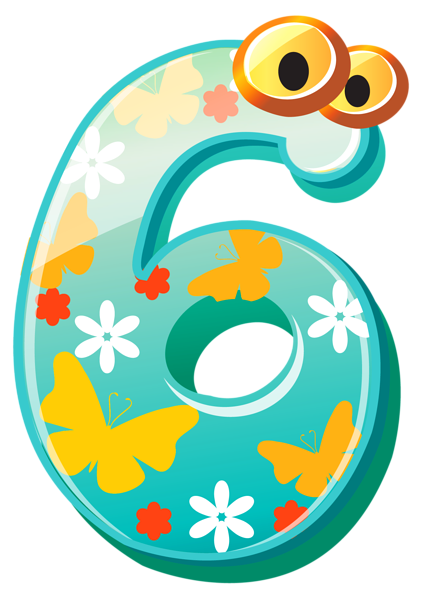 banner transparent download Cute Number Six PNG Clipart Image