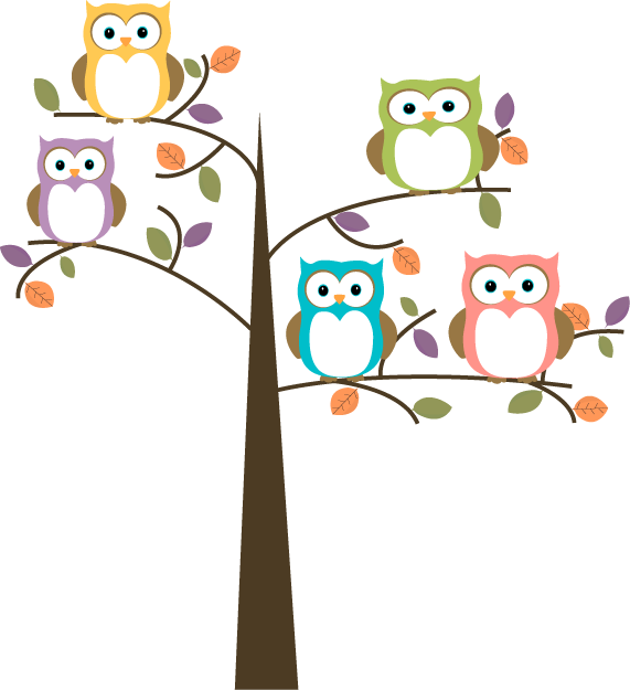 clip art royalty free download Drawing owl tree. Cartoon colorful owls in