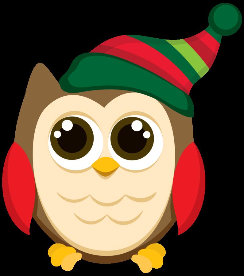 vector free stock CHRISTMAS OWL CLIP ART