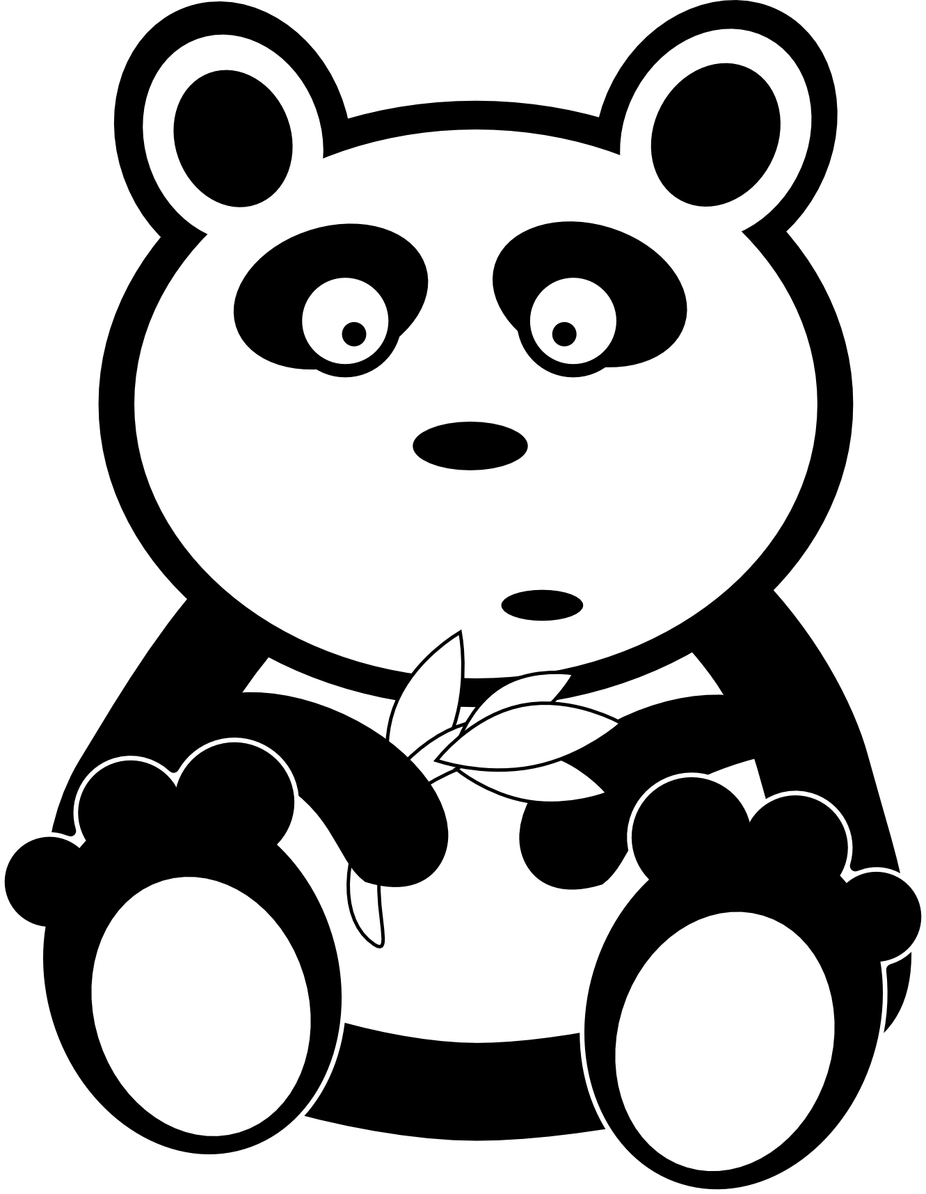 image free stock Panda bear clipart black and white. Cute free images