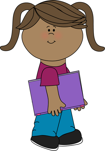 clip art transparent stock Little girl reading panda. Walking to class clipart.