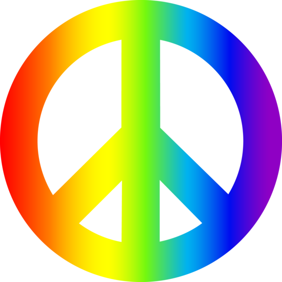 picture black and white stock Colorful Peace Sign Clipart