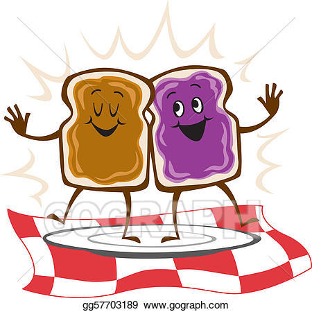 black and white stock Clipart peanut butter and jelly. Vector sandwich .