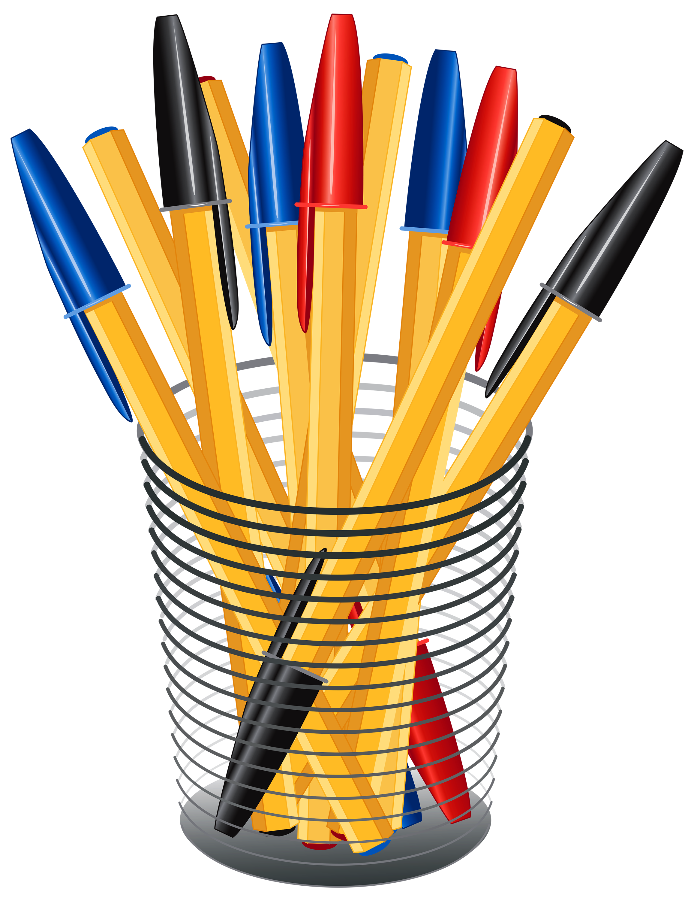 png freeuse library Book clipart pen. Metal cup with pens