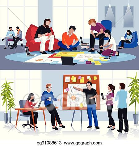 clip art royalty free download Eps illustration in team. Clipart people working.