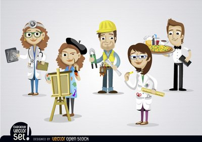 clip royalty free library Free in different jobss. Clipart people working.