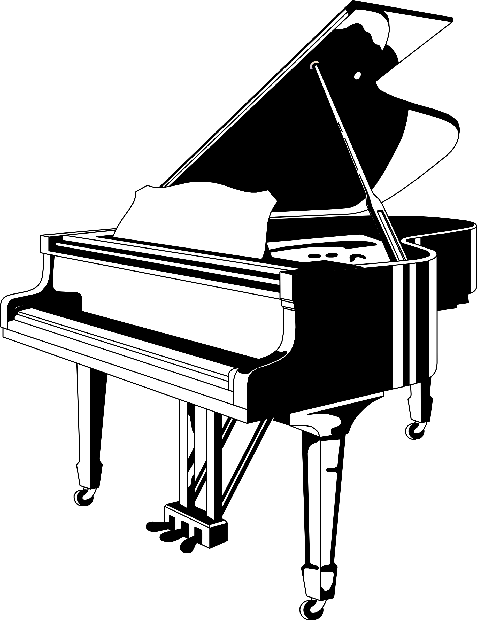 graphic free library Big image png. Piano keyboard clipart black and white