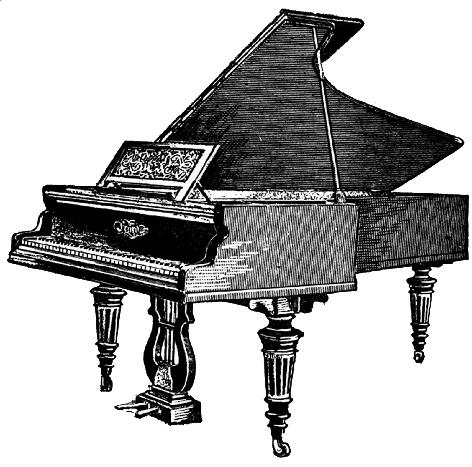 picture freeuse stock Antique transparent png stickpng. Piano keyboard clipart black and white