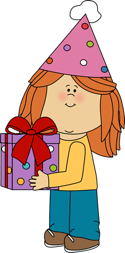 clip art freeuse library Learn clipart girl. Birthday with gift clip.