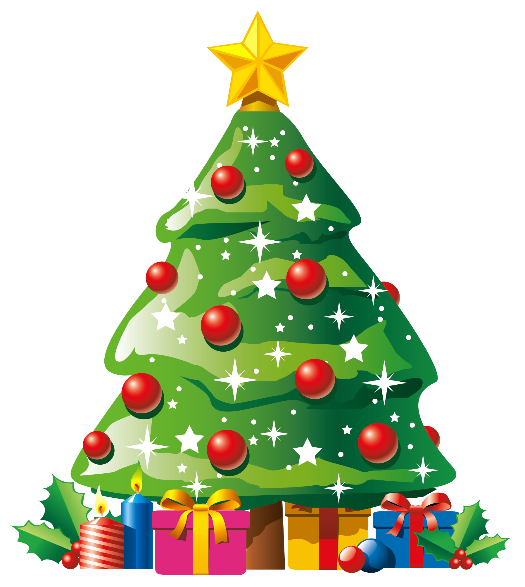 vector stock Transparent Deco Christmas Tree with Gifts Clipart