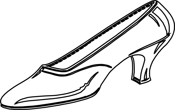 image black and white Womens shoes clipart. Black and white panda