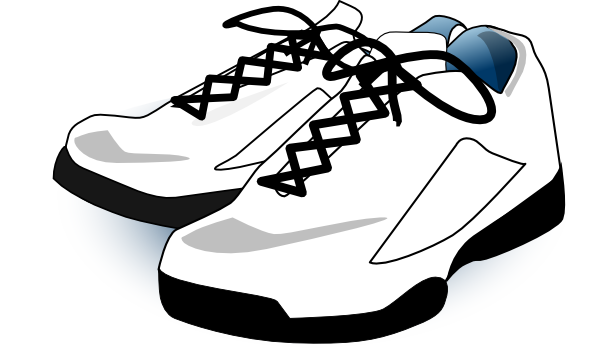 vector freeuse library Tennis Shoes Clipart Black And White