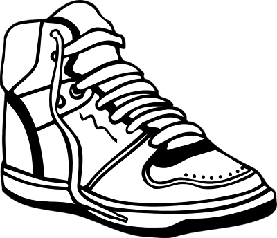 clip art royalty free library Sneaker tennis shoes clipart black and white free