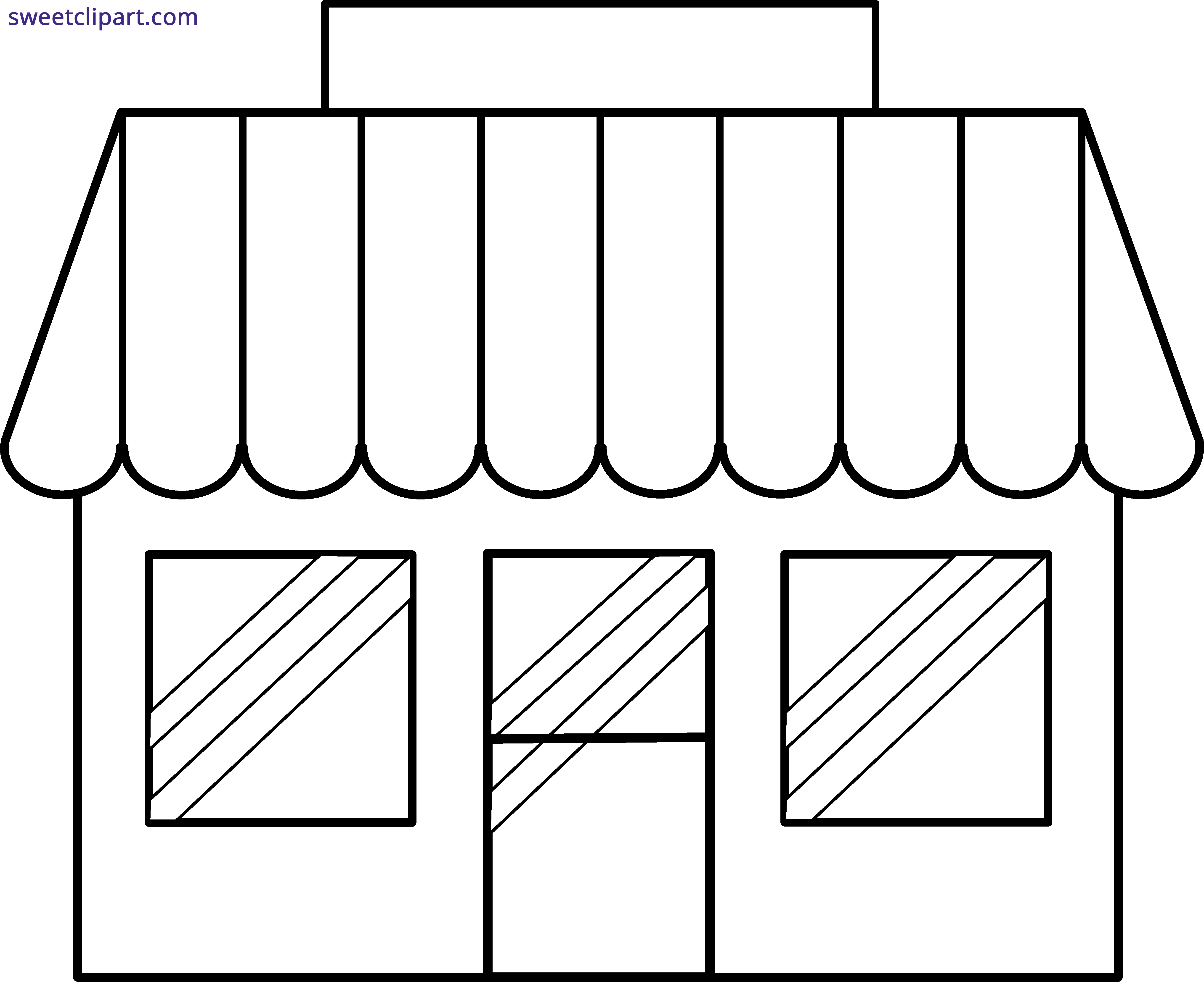 library Store clipart black and white. Shop outline sweet clip