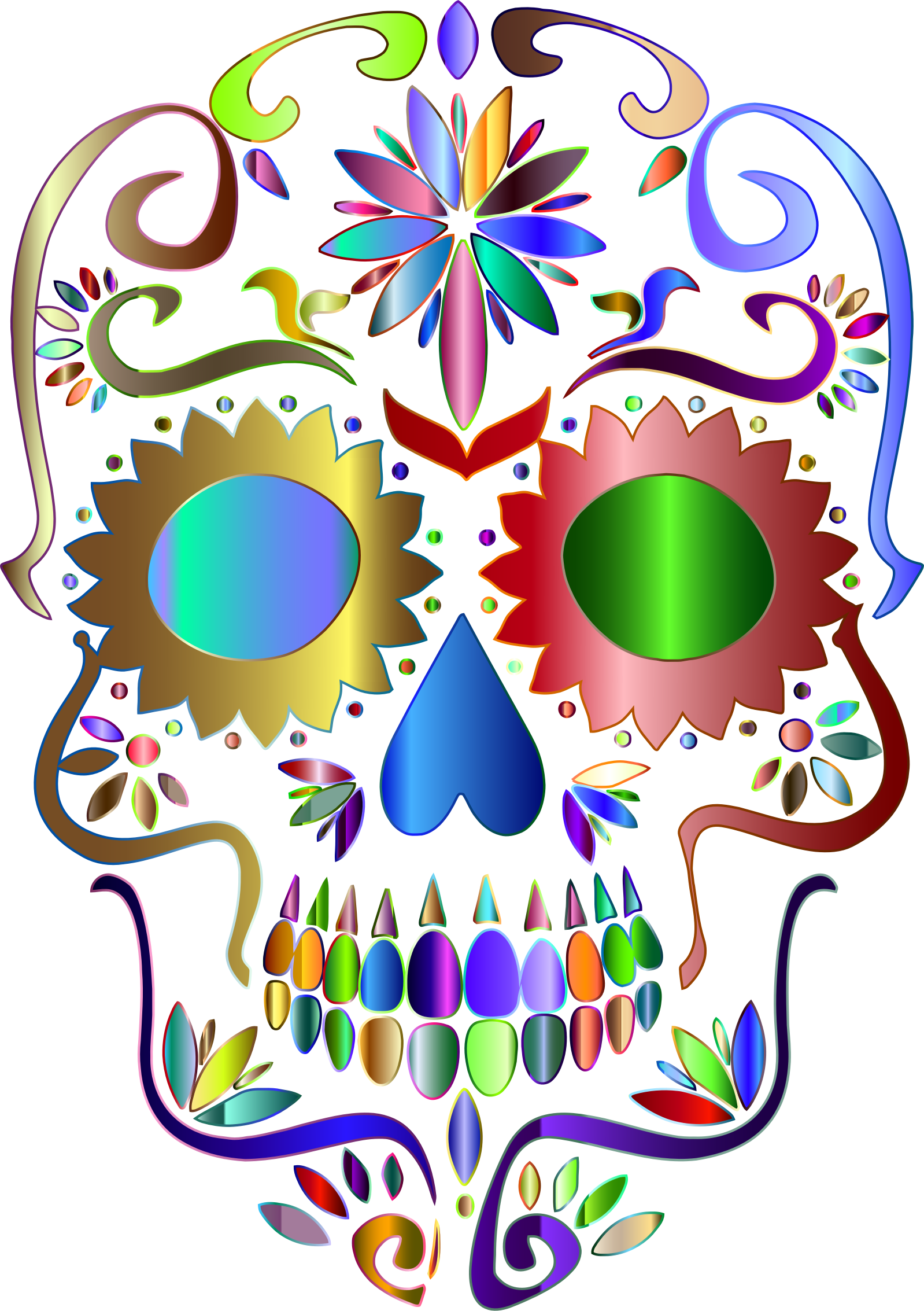image transparent library Sugar skull clipart. Prismatic silhouette no background