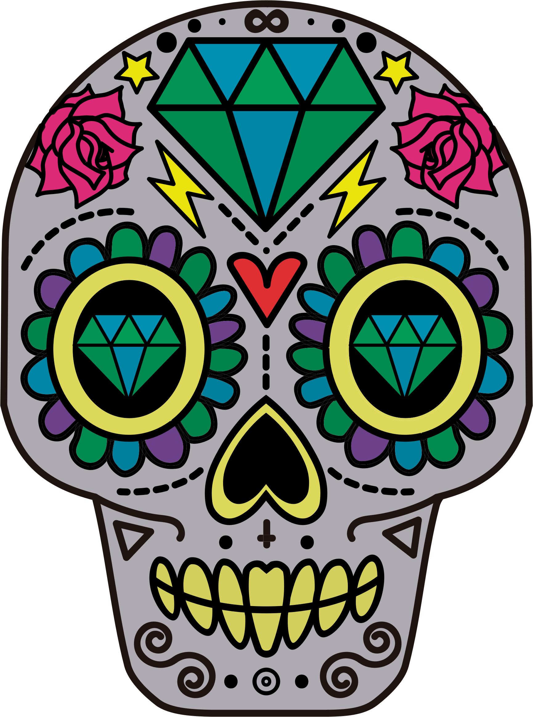 picture black and white Decorative big image png. Sugar skull clipart