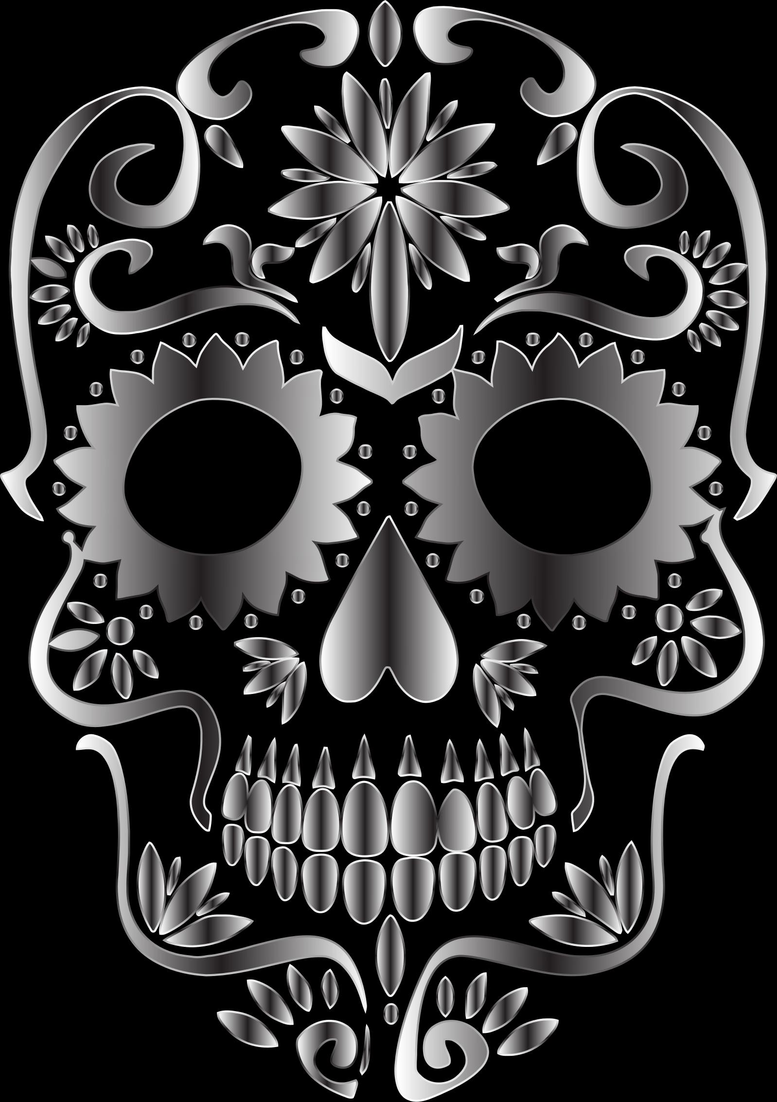 clipart library stock Monochrome silhouette no background. Sugar skull clipart