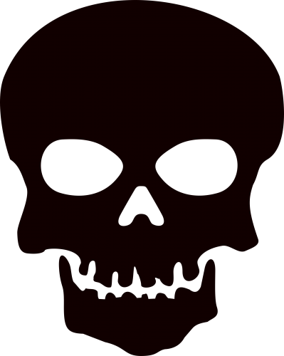 graphic library Skull three isolated stock. Skeleton clipart black and white