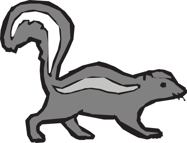 clip freeuse Simple Gray Skunk Clip Art at Clker