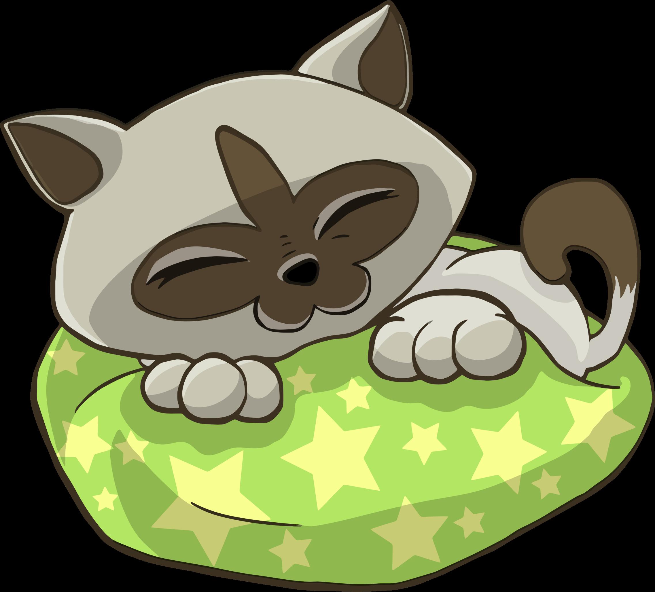 clip art black and white stock Sleeping on starry pillow. Clipart kitten