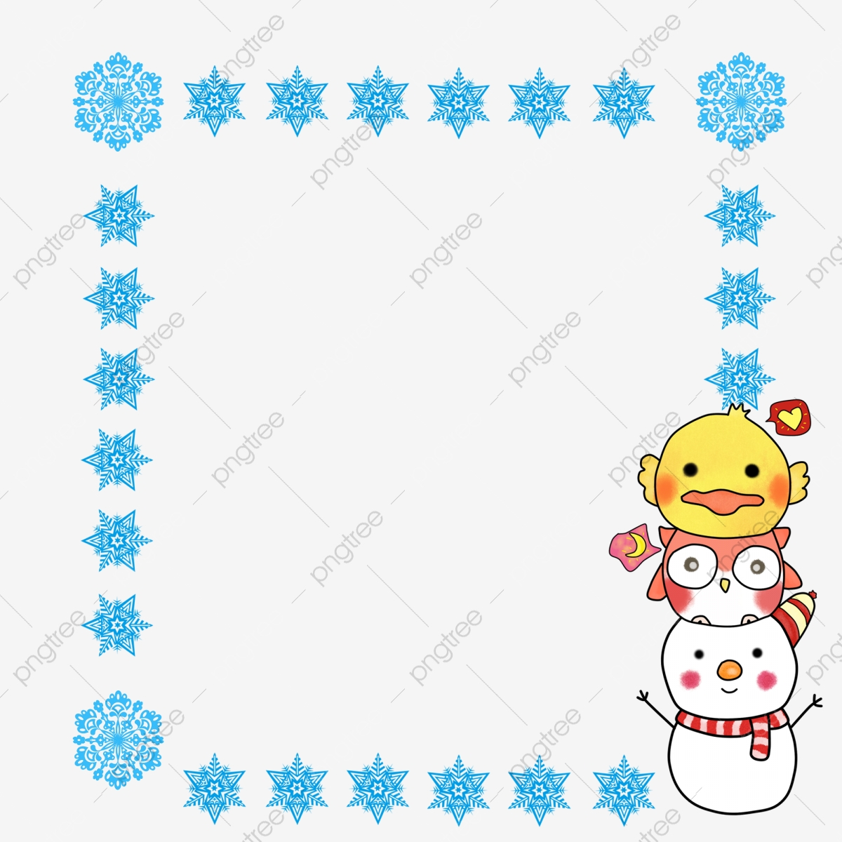 graphic black and white library Clipart snowflake border. Christmas frame snowman owl