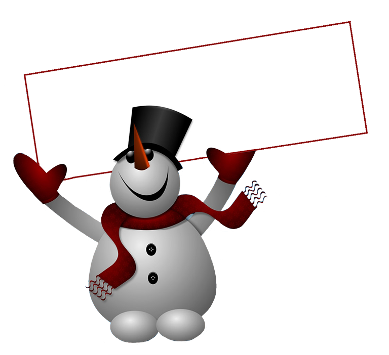 royalty free Clip art with sign. Snowman clipart.