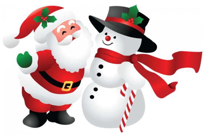 picture library library Christmas Santa and Snowman PNG Clipart